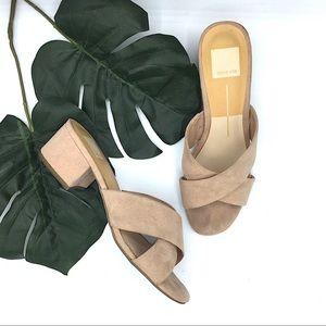 Dolce Vita Nude Suede Sandals Size 7 Block Heel